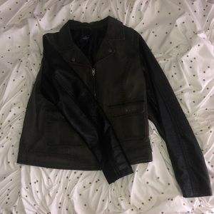 American Eagle Dark Green Leather Jacket